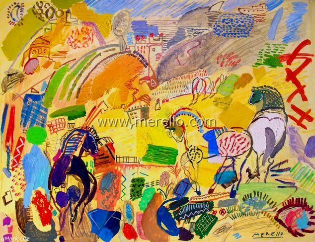 1.arte_contemporaneo_espanol-spanish_modern_art_espagnol_contemporaine-merello.-caballos  _del _sol _(73x92 _cm)mixta-tabla