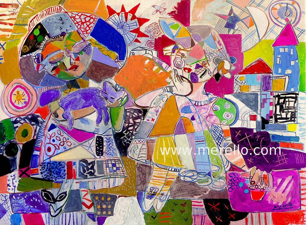 3.Merello.-Fantasia (97 x 130 cm).PINTORES ESPANOLES.  ARTISTAS ESPANOLES MODERNOS Y CONTEMPORANEOS. PINTORES ACTUALES DE ESPANA.  ARTE MODERNO. ARTE ACT