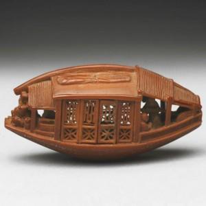 Barco en carozo de aceituna. China,1737, Tzen Tsu- Chang