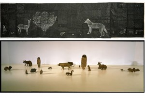 010) Kiki Smith - black animal drawing (dibujo) y creche (esculturas)