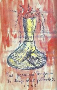 Pies pa' que los quieros, dibujo del diario de Frida Kahlo (1953)