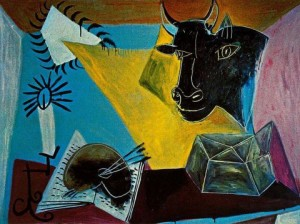 Pablo Picasso, still life with a bulls head book and candle range, 1938.