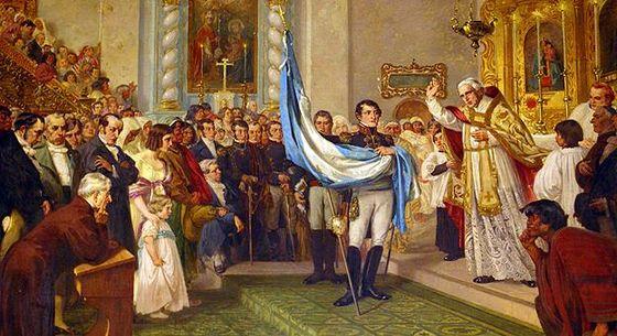 Bendición de la Bandera Argentina por el canónigo Juan Ignacio Gorriti en la Catedral de San Salvador de Jujuy, sostenida por Manuel Belgrano.