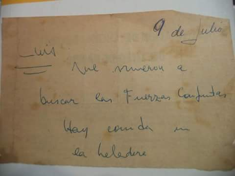 Mensaje en una servilleta que Héctor le regaló a Patricia Breccia, hija de Alberto.