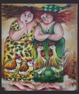 Obra de la serie Chismosas Martha Jiménez ( Cuba)