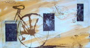 karina galli Perfil de bicicletas sobre óleos