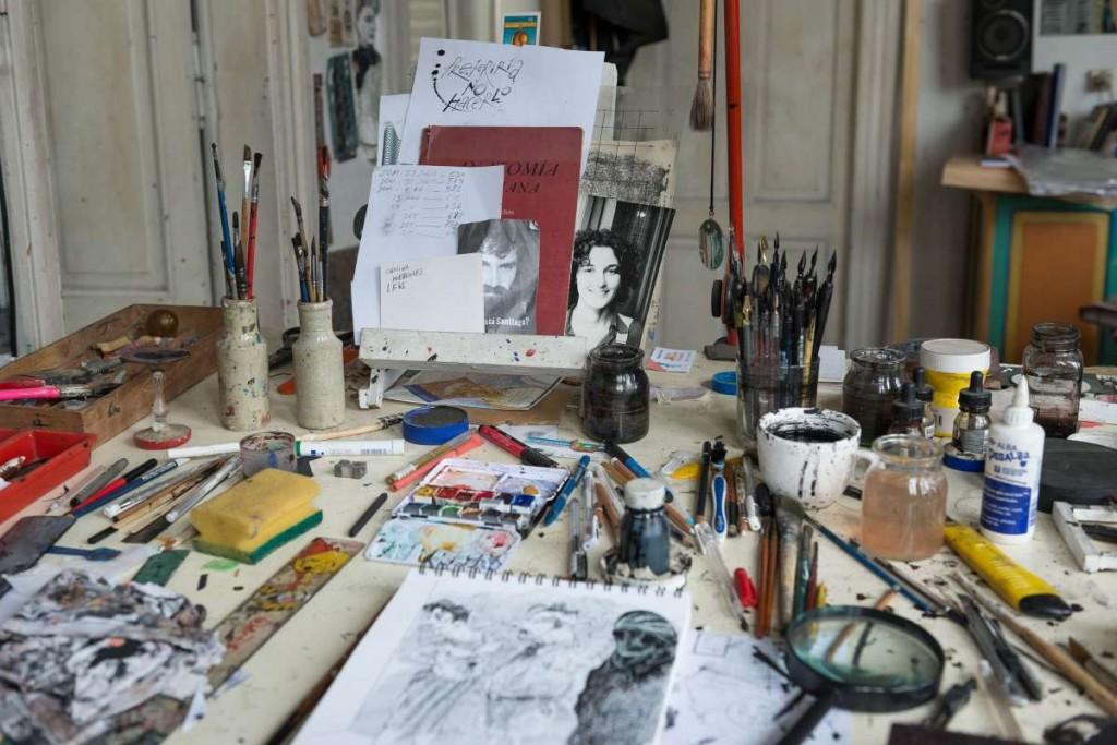 Scafati. Su mesa de dibujo. Foto: Diego Grispo