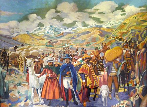 El Exodo Jujeño, cuadro de pintor anónimo de mediados del siglo XX. (Museo Histórico Provincial de Jujuy)