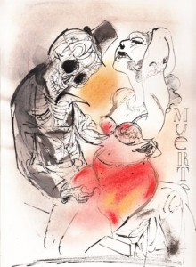 """Scafati. Dibujo de la serie """"Morite muerte"""""""