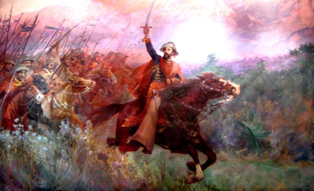 """Retrato del General Güemes y """"Los infernales"""" en combate"""
