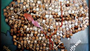 Mapa con cráneos de las víctimas, Camboya