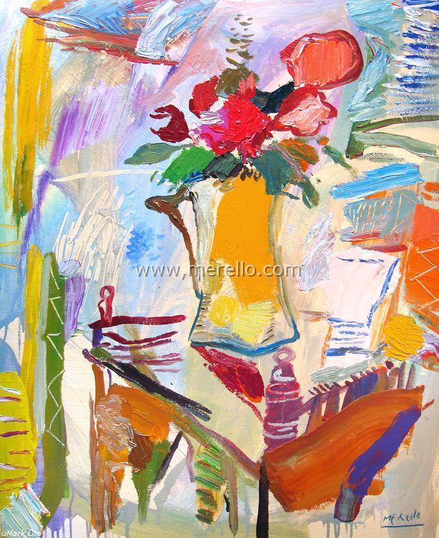 2.arte_contemporaneo_espanol-spanish_modern_art_espagnol_contemporaine-merello.-jarron  _con _flores _de _la _pasion(100x81 _cm)mixta-lienzo