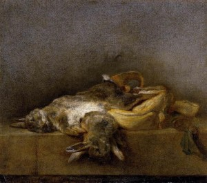 Chardin-Still Life with Two Rabbits, Jean-Simeon