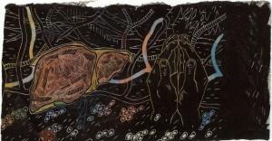 05) Kiki Smith - Sin Titulo - grabado en linoleum con adición de color -1985