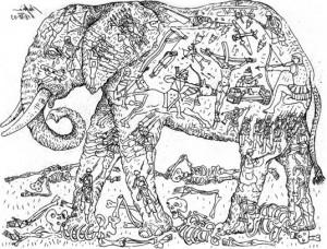 La civilización es un elefante tatuado.