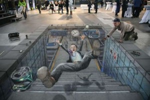 Street art, illusions, Julian Beever.