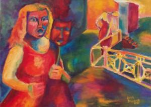 La cantante de ópera, la máscara y lo otro. Acrílico sobre tela. Pintura: Julieta Strasberg