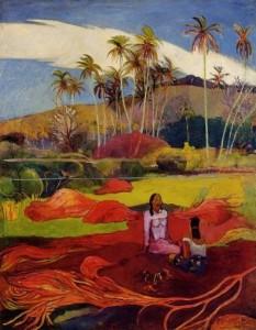 Mujeres de Tahitian bajo las palmeras, Gaugin