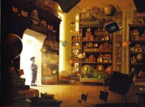 William Joyce y Brandon Oldenburg. Cuadro del corto Los fantásticos libros voladores del Sr. Morris Lessmore.