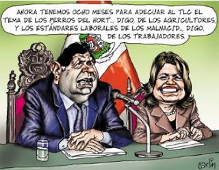Carticatura de Carlín, Alan García y Mercedes Araoz.
