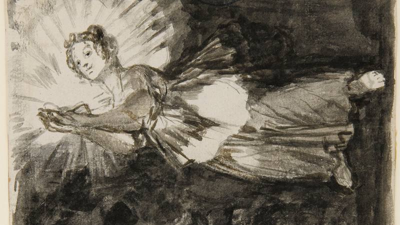 "Goya. Dibujo sobre ""la justicia"" en un manuscrito."