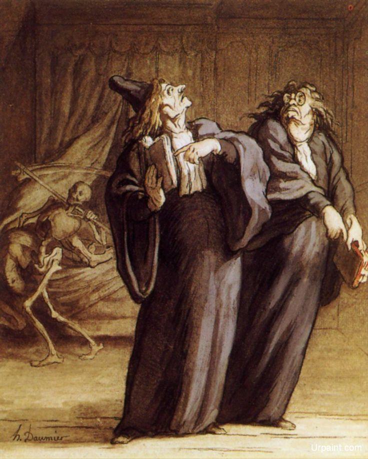 """Daumier. """"Dos médicos y la muerte""""."""