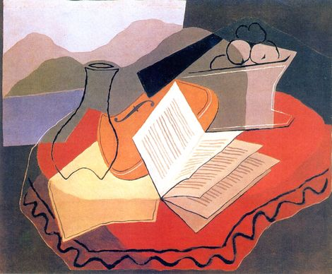 Still life with violin in front or an open window - Juan Gris (1926)