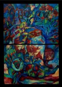 Sueños de la tierra. Acrílico sobre tela (díptico). Artista: Julieta Strasberg