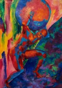 Sísifo escala la montaña Pintura acrílico sobre tela. Artista: Julieta Strasberg