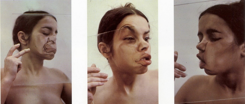 "Ana Mendieta. ""Glass on body"". Iowa, 1972."