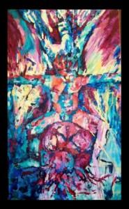 Ser de la tierra y más allá. Pintura en acrílico sobre tela. Artista: Julieta Strasberg
