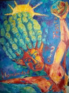Humanidad, divino tesoro. Técnica mixta (acrílico y óleo) sobre tela. Artista: Julieta Strasberg