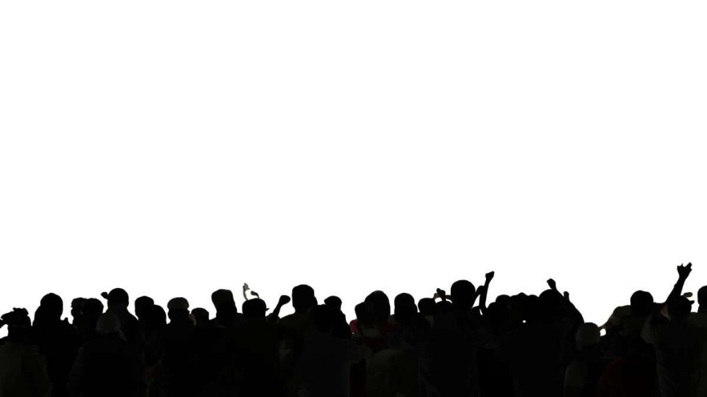 Concert crowd dancing silhouettes