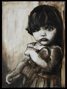 niña con muñeca de trapo, Carlos Enrique Cabrera