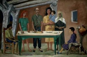 Antonio Berni,  La  comida, Pigmento al agua sobre tela, 1953