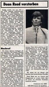La noticia de la muerte de Dean Reed en el Neues Deutschland, órgano del SED (Partido Socialista Unificado, de la RDA), el día 18 de junio de 1986