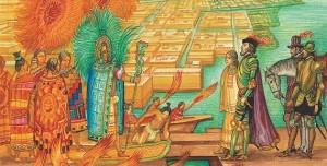 Encuentro Moctezuma-Cortés. Ilustración.