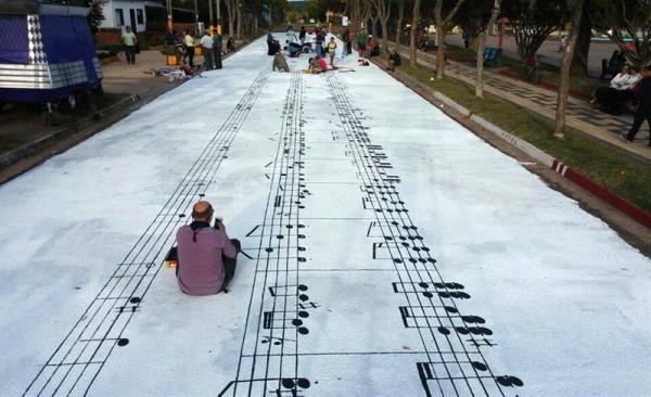 La cumparsita en la calle. Pintura.