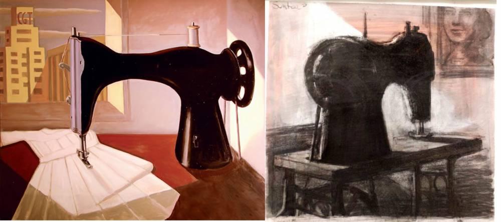 """Daniel Santoro. """"La máquina de coser"""" (izquierda), """"Escolástica peronista"""" (derecha)."""