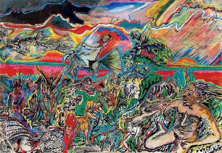 """Luis Felipe Noé, """"La naturaleza y los mitos II."""" Acrílico, tinta y collage sobre papel y cartón, 1975."""