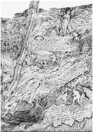 """Luis Felipe Noé. """"Noticias del Amazonas versión I"""". Tinta sobre papel, 1996."""