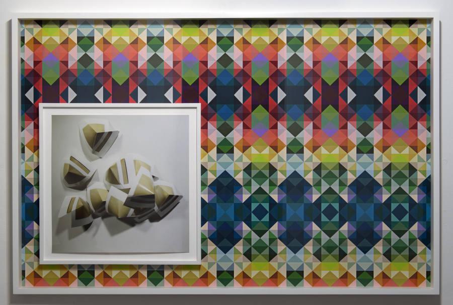 """Quisqueya Henríquez, """"Dorothea Rockburne/Auguste Macke"""", 2015, Collage y fotografía digital montada en Dibond. Marco dentro de otro marco."""