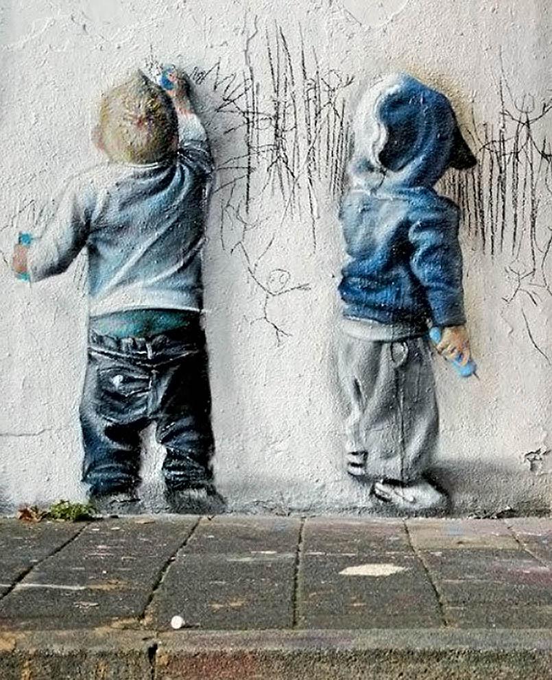 estela7,niños street art